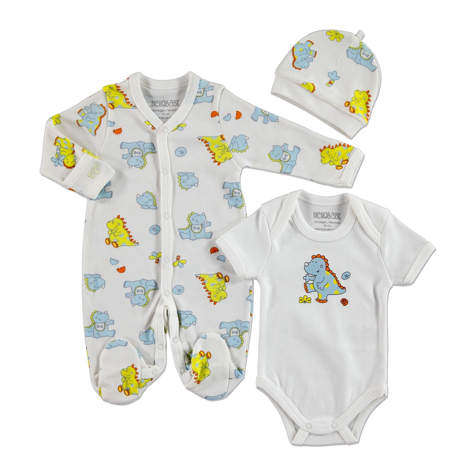 Ebebek HelloBaby Baby Boy Dino Interlock Romper Bodysuit Hat 3 Pcs Set