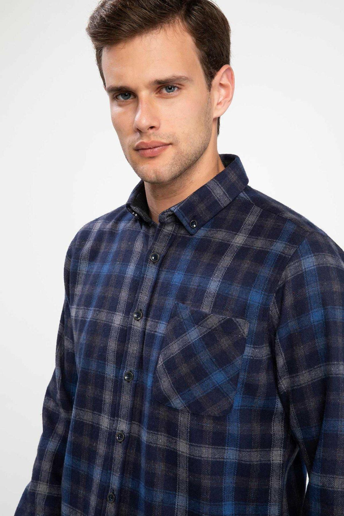 DeFacto Man Long Sleeve Plaid Shirt Men Autumn Dark Grid Top Shirts Pockets Turn-down Collar Male Casual Shirts-J1656AZ18WN
