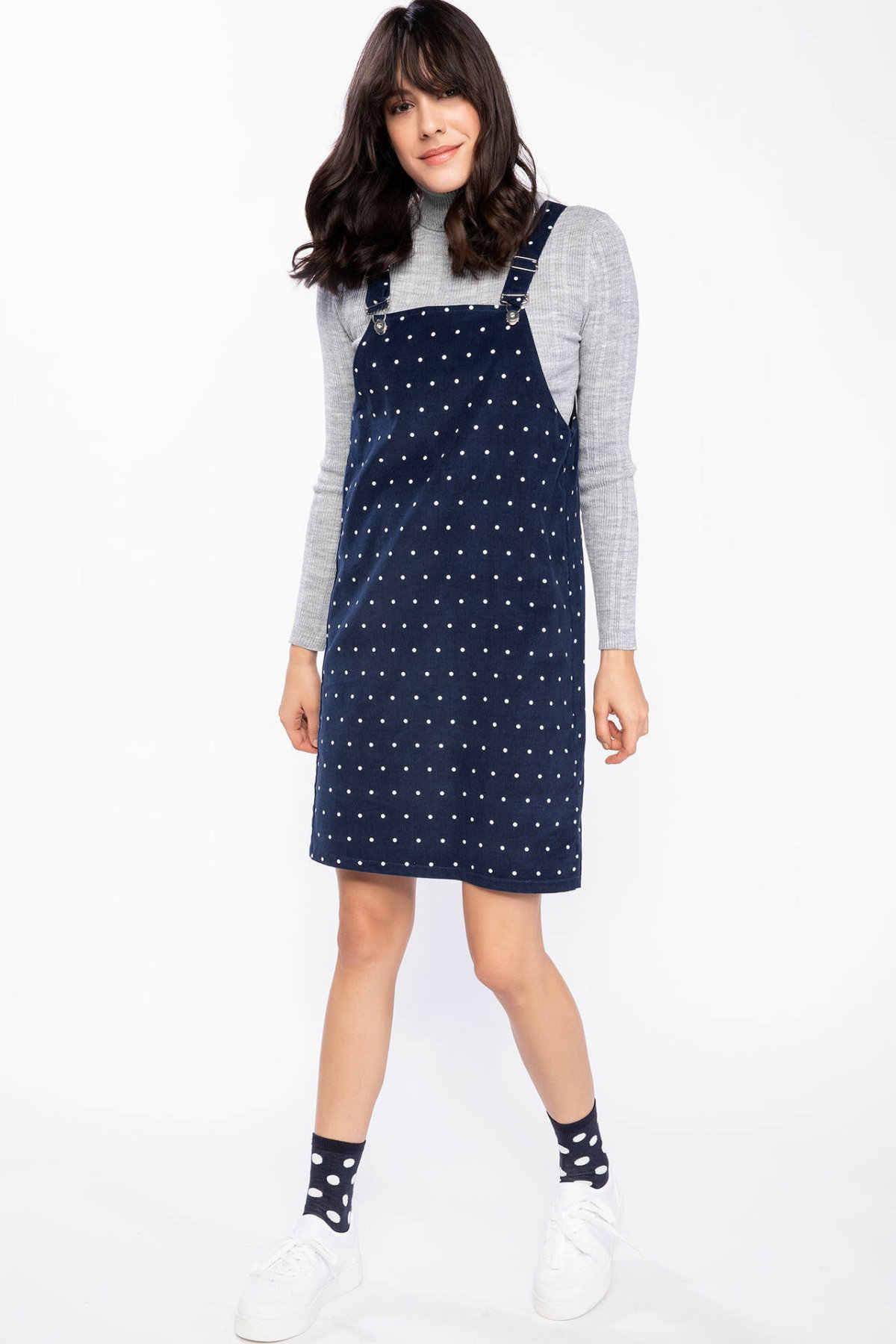 DeFacto mode rouge bleu femmes sangle grille robe automne tissé global Mini Dress-J0810AZ18WN-J0810AZ18WN