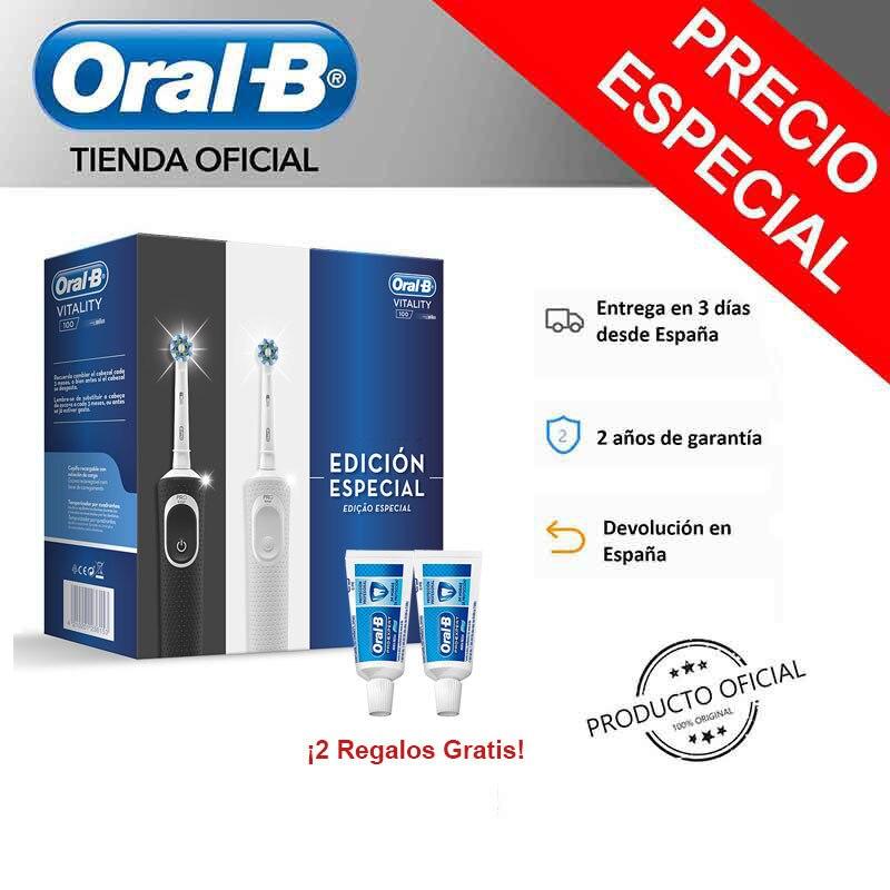 Pack 2 Cepillos Eléctricos Recargables Oral-B Vitality D100 CrossAction Blanco/Negro + Dentífrico Oral-B Pro Expert PP Clean