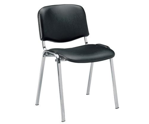 Chair NICE NEW AM, Chrome Chassis, Similpiel Black *.