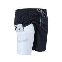 Шорты мужские с карманами на молнии, джоггеры, короткие штаны 2 в 1, для спортзала, фитнеса, бодибилдинга, тренировок, быстросохнущие пляжные шорты