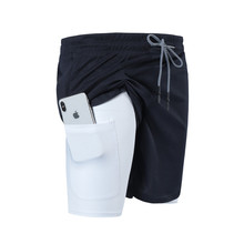 Multi pocket Zip Pocket Men Joggers Shorts Mens 2 in 1 Short Pants Gyms Fitness Bodybuilding Workout Quick Dry Male Beach Shorts