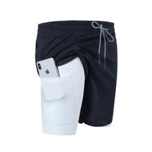 רב כיס Zip כיס גברים רצים מכנסיים Mens 2 ב 1 קצר מכנסיים חדרי כושר כושר פיתוח גוף אימון מהיר יבש זכר חוף מכנסיים קצרים
