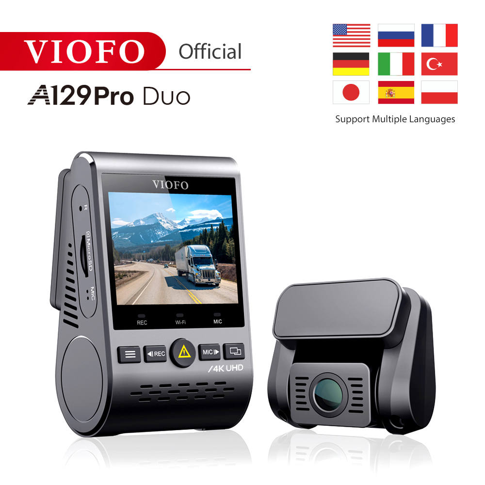 VIOFO A129 Pro Duo 4K podwójny wideorejestrator najnowszy 4k DVR 2019 kamera samochodowa z trybem parkowania GPS g-sensor czujnik Sony z WIFI 4K DVR
