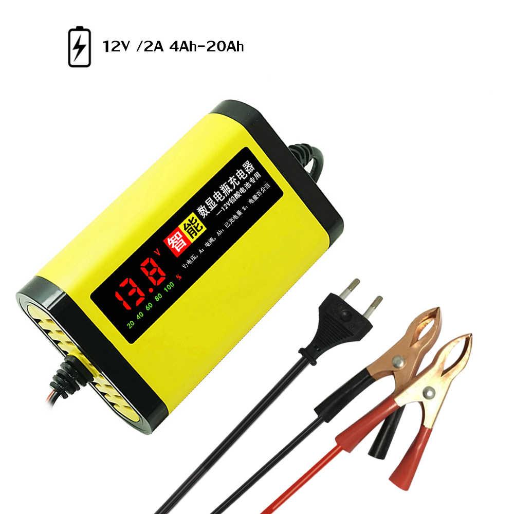 Cargador de batería para coche de motocicleta 12V 2A completamente automático 3 etapas de plomo ácido AGM GEL inteligente pantalla LCD de carga para coche accesorios