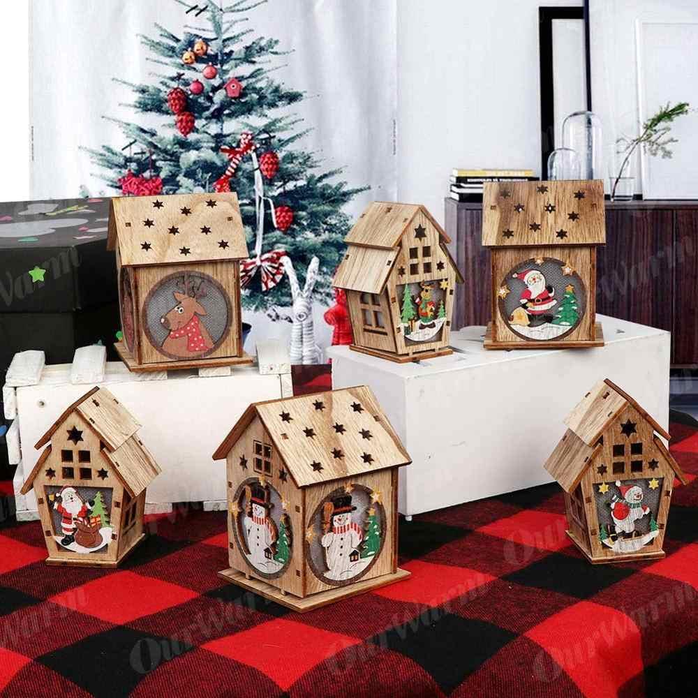 Nuestra cálida casa de madera DIY decoración de árbol de Navidad luz LED adornos colgantes casa de madera regalo de Año Nuevo para niños
