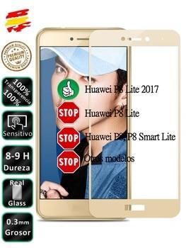 Protector Huawei P8 Lite 2017 Dorado Completo 3D Cristal Templado de Pantalla