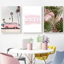 Lienzo de árbol de palma rosa de moda cuadros de pared Vogue Pink Van Vintage carteles e impresiones sala de estar hogar Arte de la pared Decoración