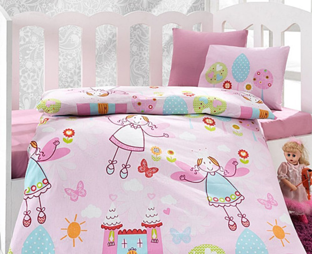 Made In Turkey FAIRY Baby Bedding Duvet Cover Set Crib For Boy Girl Cartoon Animal Baby Cot Cotton Soft Antiallergic