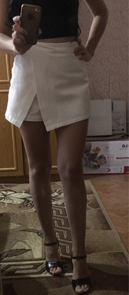 Zipper Fly Back Solid Wrap Skort White Spring Summer Autumn Shorts Elegant Culottes Mid Waist Women Shorts photo review