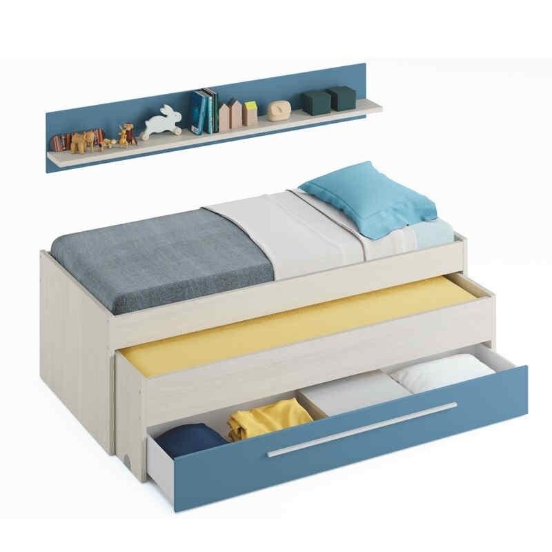 Lit nid juvénile lits et un tiroir, couleur blanc alpes et bleu, mesures: 200 cm (largeur) x 69 cm (haut) x 96 cm (bas)