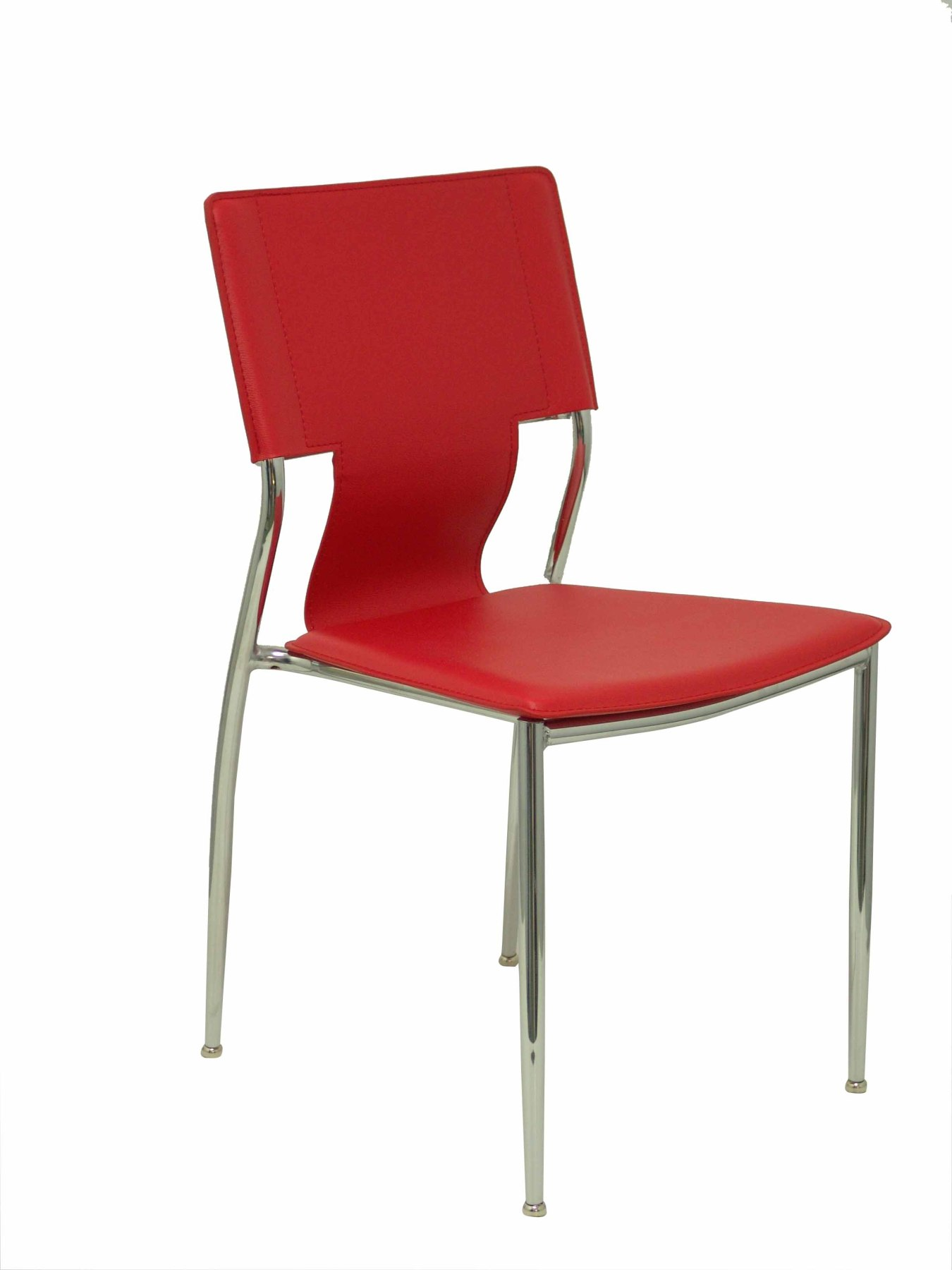 Pack 4 Chairs Confident Of 4 Legs With Estructrua Chrome Seat And Back Upholstered In Similpiel Network PIQUE