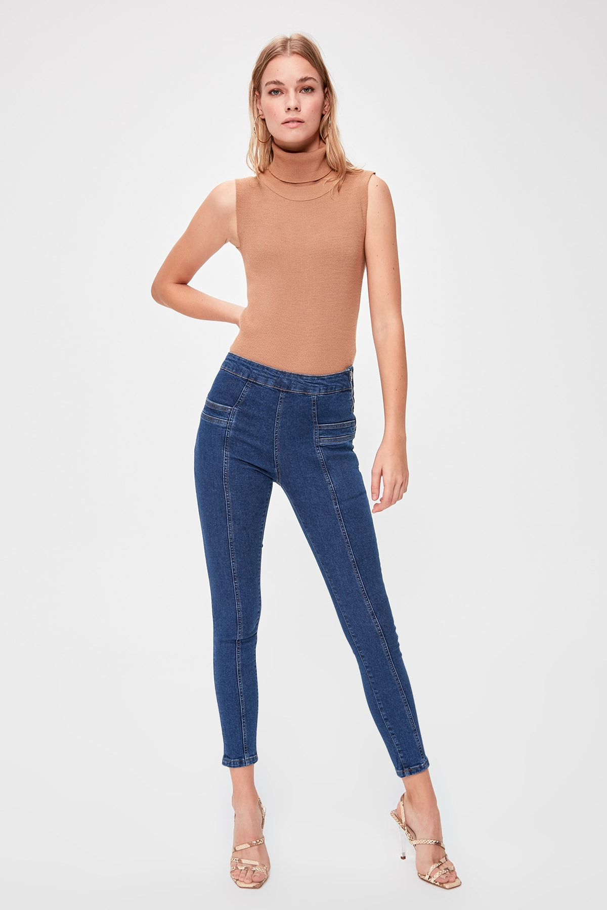 Trendyol Pocket Detail High Waist Jegging Jeans TWOAW20JE0147