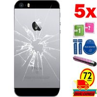 5x Protectors Screen Tempered Glass Back for for APPLE IPHONE 5S (Generico  Not Full SEE INFO) PEN PINK