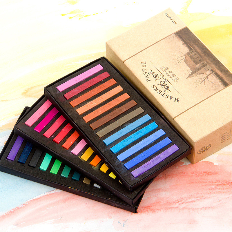 Watercolor Paint Set 12 24 36 48 Colors Crayons Soft Dry Pastel Graffiti Painting Drawing Watercolor Paper Art Supplies