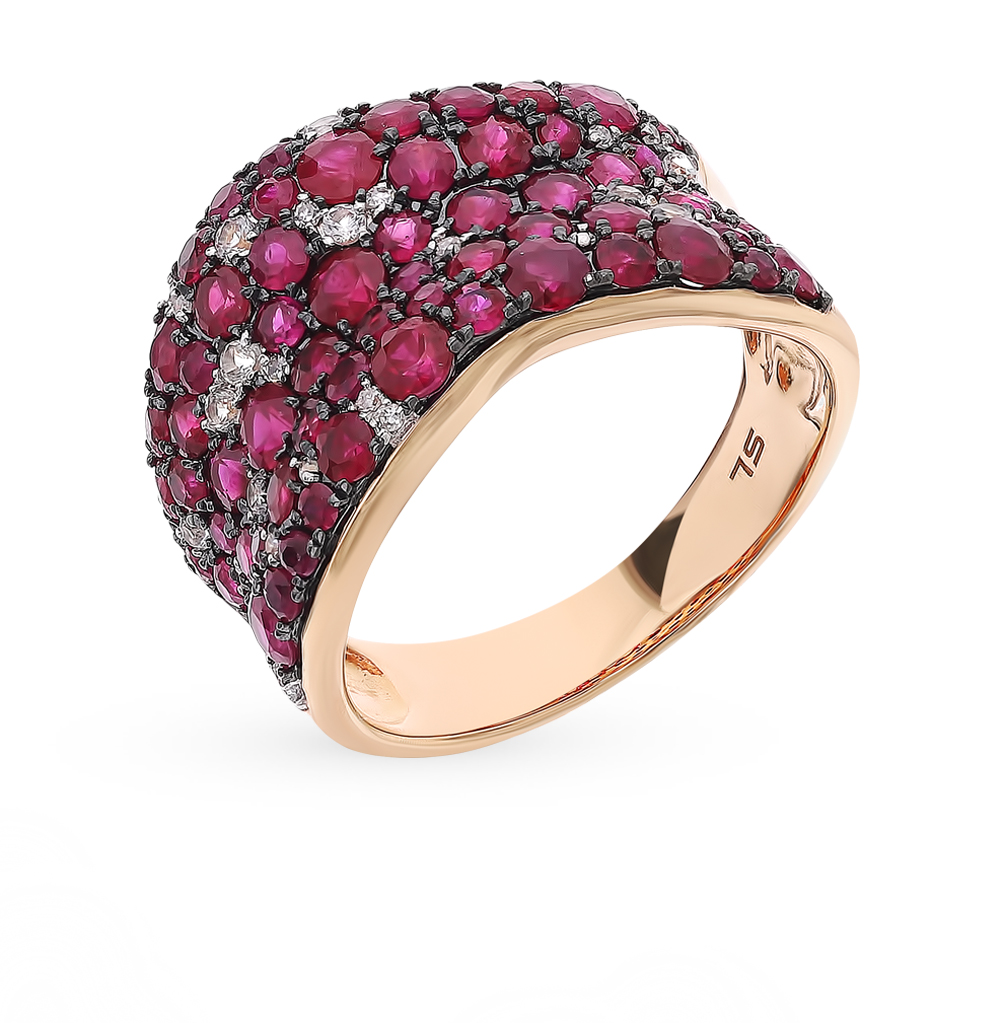 Gold Ring With Rubies, Sapphires And Diamonds SUNLIGHT Test 585