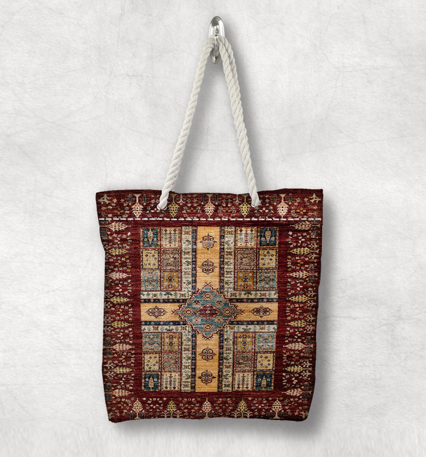 Else Yellow Brown Retro Anatolia Antique Kilim Design White Rope Handle Canvas Bag Cotton Canvas Zippered Tote Bag Shoulder Bag