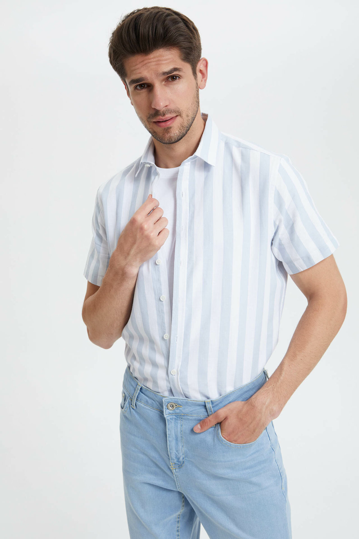 DeFacto Men Simple Casual Light Striped Short Shirts Lapel Collar Male Shirts Cotton Male Lapel CollarTops New - L8878AZ19SM-L8878AZ19SM