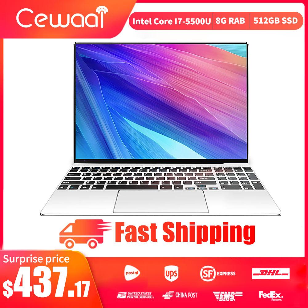 Cewaal Ultra-thin 15.6inch 5Gen Intel Core I7-5610U Laptop 8GB RAM 512GB SSD Notebook Dual Band WiFi HDMI USB 3.0 RJ45 Gigabit