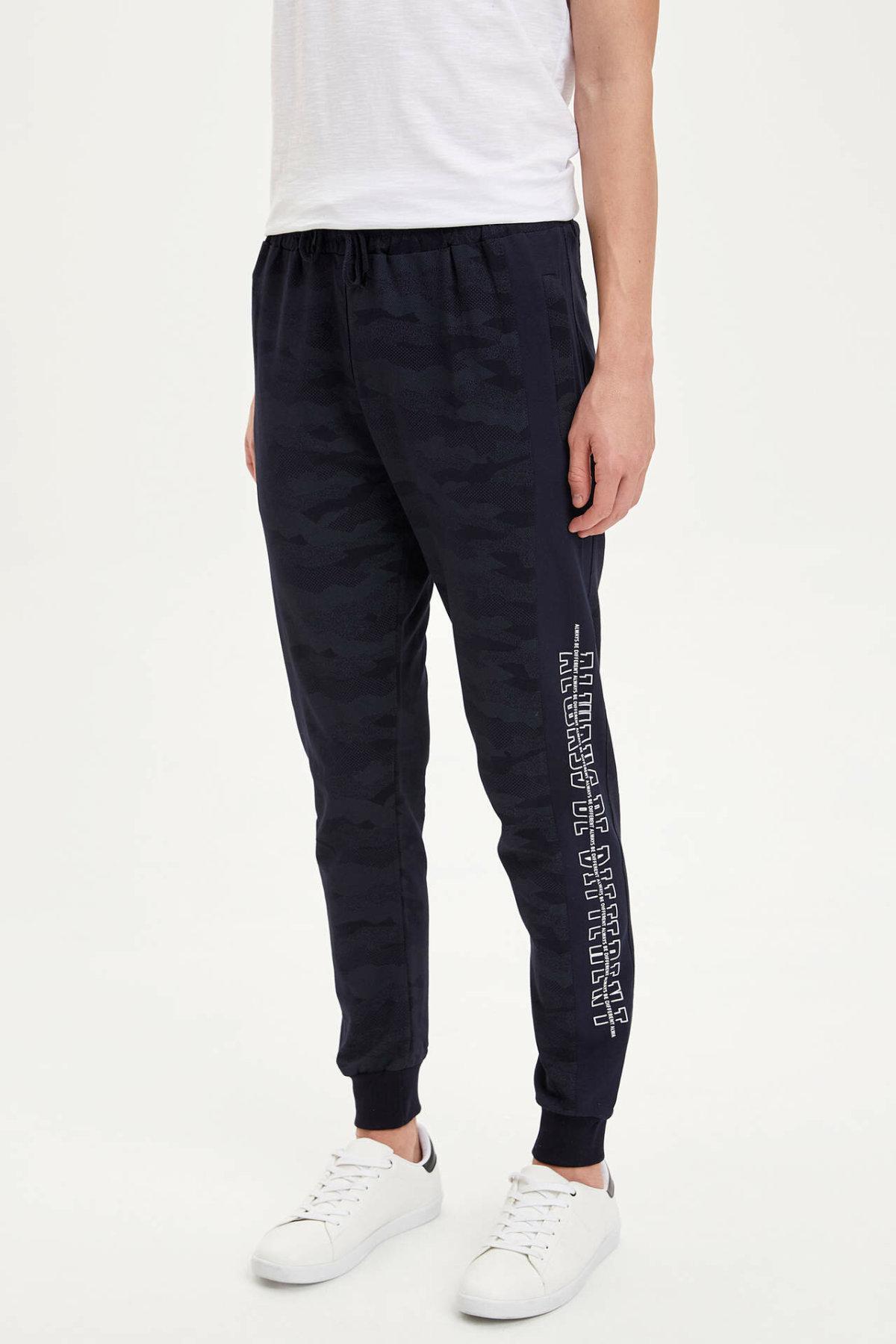 DeFacto Man Autumn Dark Color Long Pants Men Casual Adjustable Pant Men Letter Prints Bottoms Trousers-N0142AZ19AU