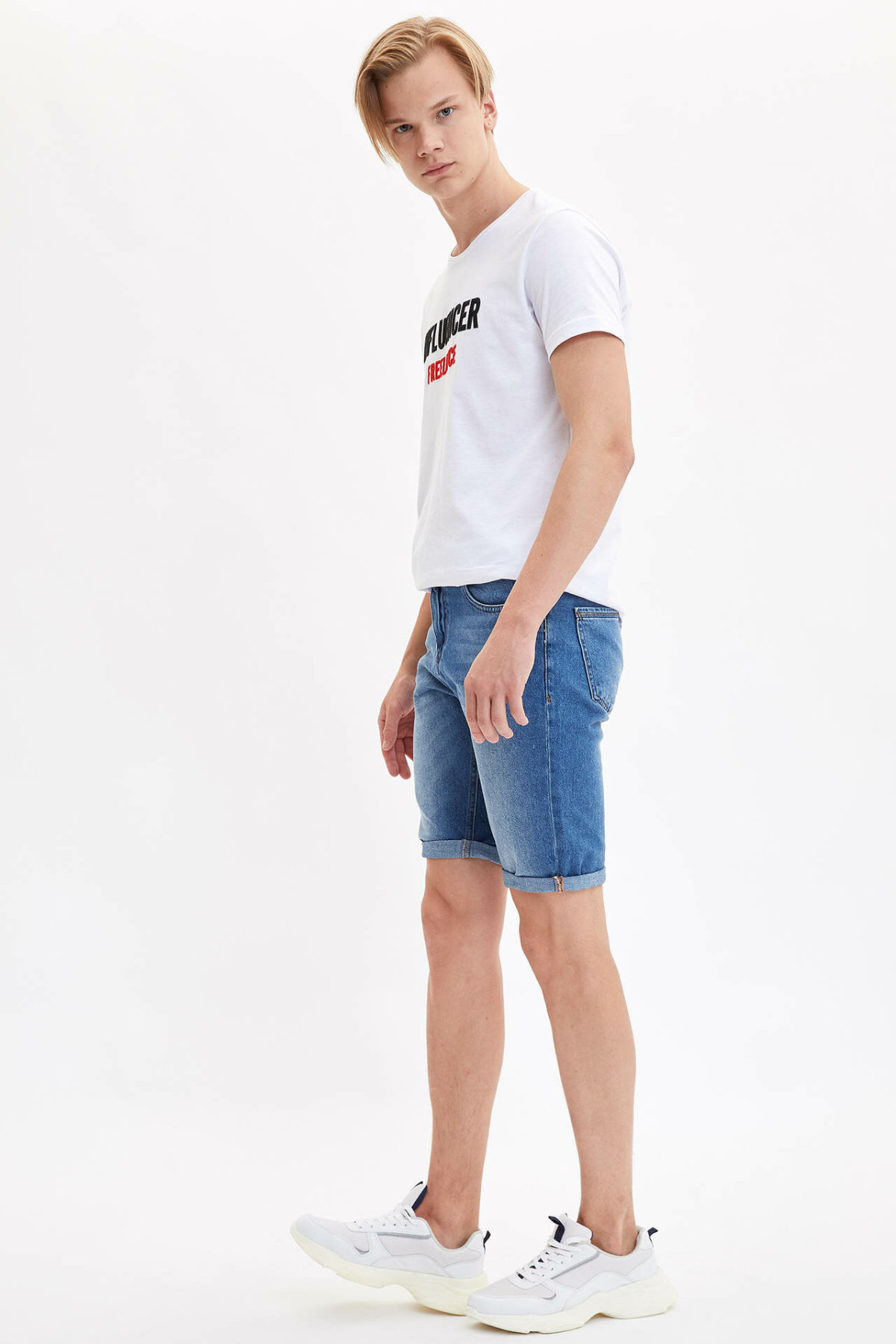 DeFacto Man Fashion Short Pants Male Casual Denim Shorts High Quality Men's Loose Blue Shorts Jeans New -L0175AZ19HS