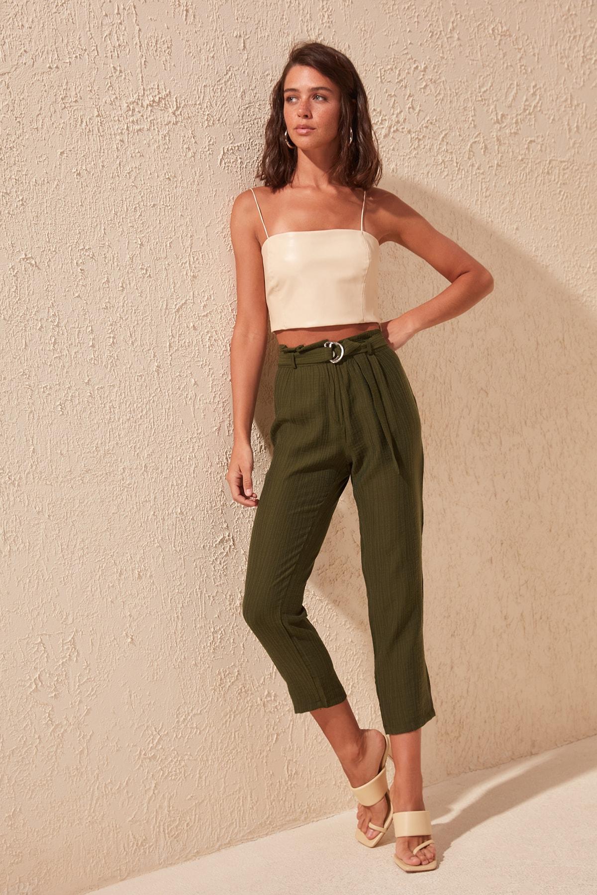 Trendyol Belt Detail Pants TWOSS20PL0182