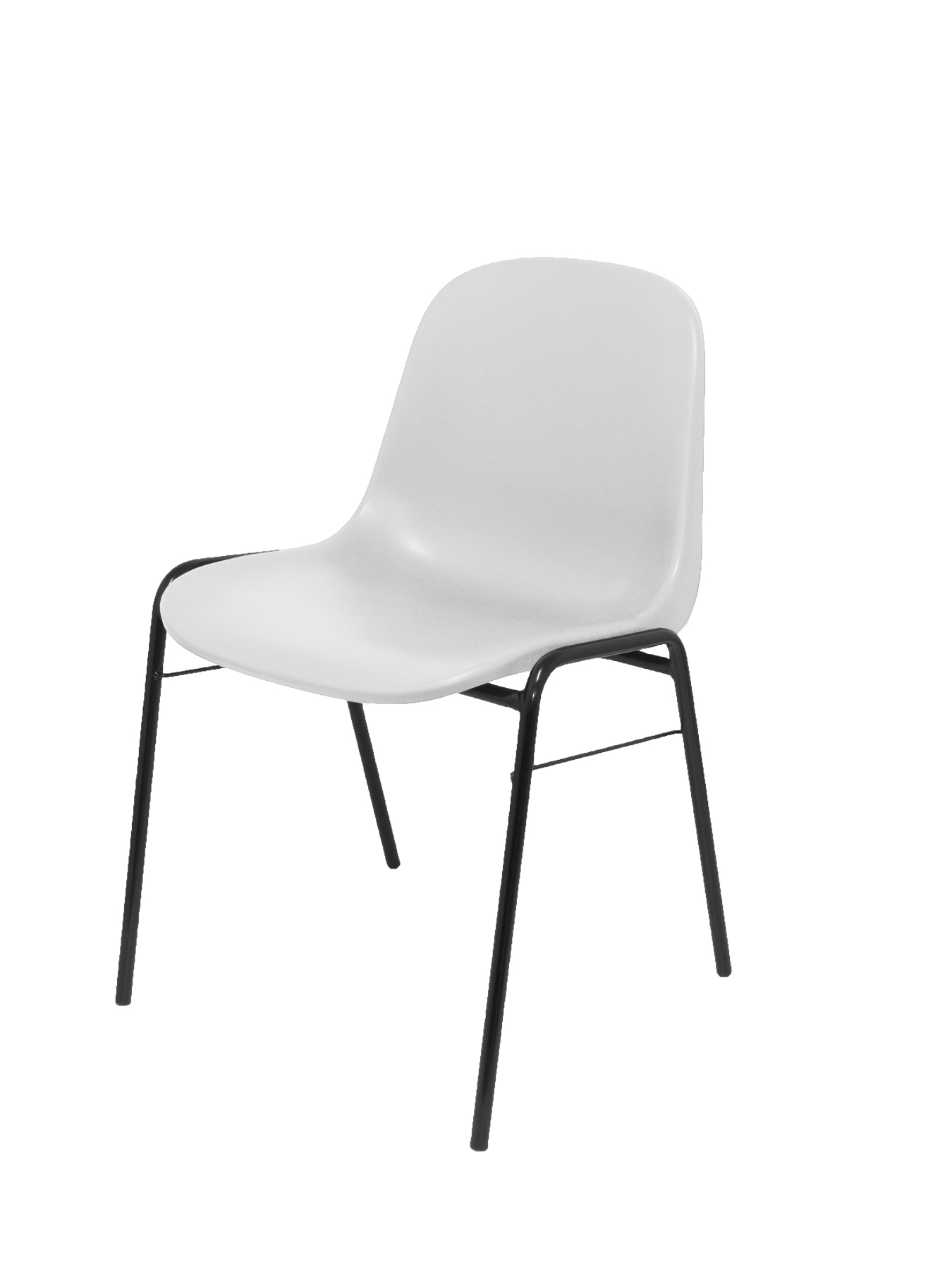 Pack 4 Guest Chairs Desk Ergonomic, Stackable And With Negro Up Seat And Backstop Structure PVC White Color TAPHOLE