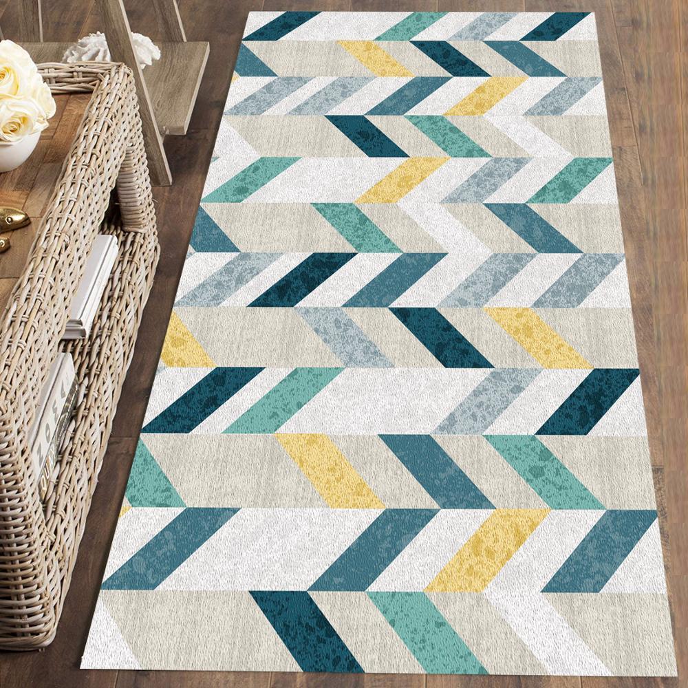 Else Gray Blue Green Geometric Scandinavian 3d Print Non Slip Microfiber Washable Runner Mats Floor Mat Rugs Hallway Carpets