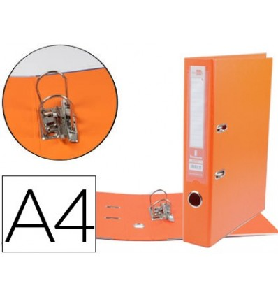 LEVER ARCH FILE LEADERPAPER A4 DOCUMENTS PVC SHEATHED WITH RADO LOMO 75MMNARANJA COMPRESSOR METAL 5 Pcs