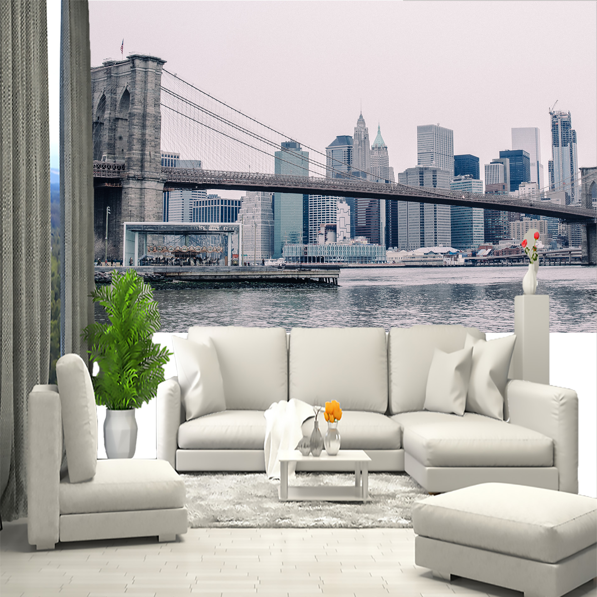 Photo Wallpaper City New York, Brooklyn Bridge. Stereoscopic Photo Wallpaper For Bedroom Room Home