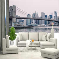 Wall mural New York City, Brooklyn Bridge. Stereoscopic wall mural for home hall bedroom