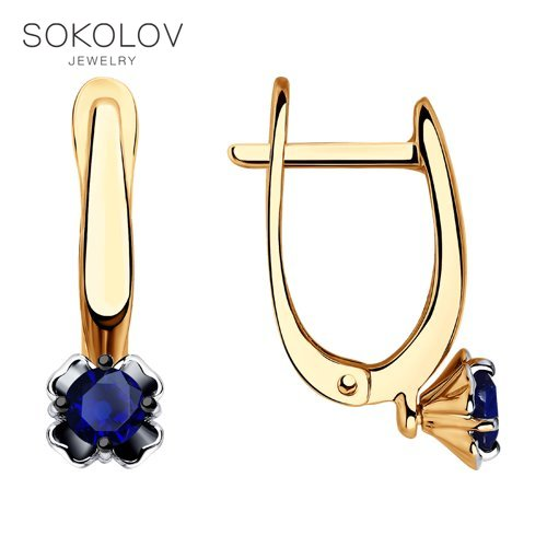 Boucles d'oreilles goutte avec des pierres avec des pierres avec des pierres avec des pierres SOKOLOV or avec des saphirs bijoux de mode 585 femme mâle