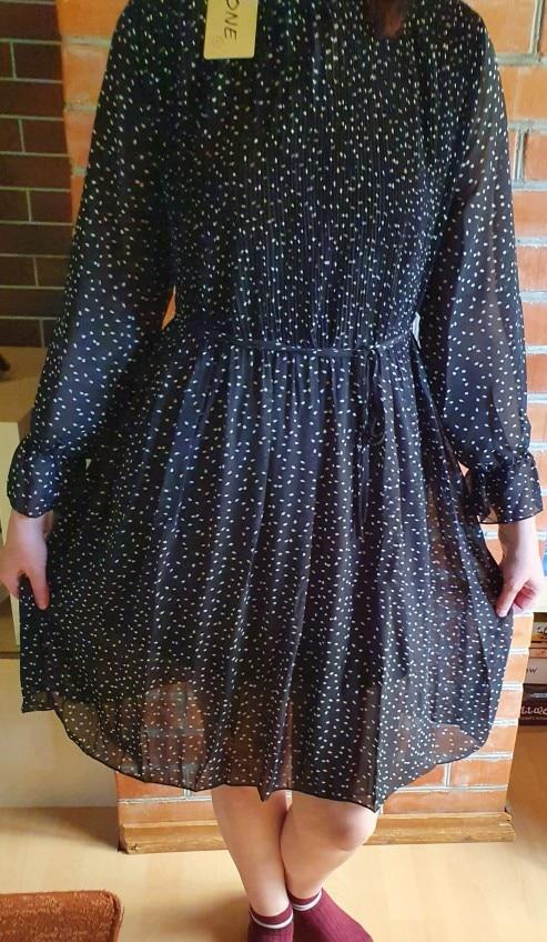 Women Dot Chiffon Dress 2019 Autumn and Winter New Long Sleeve Mid-calf Dress Joker Long Pleated Dresses Party Dresses 7160 50 reviews №1 145414