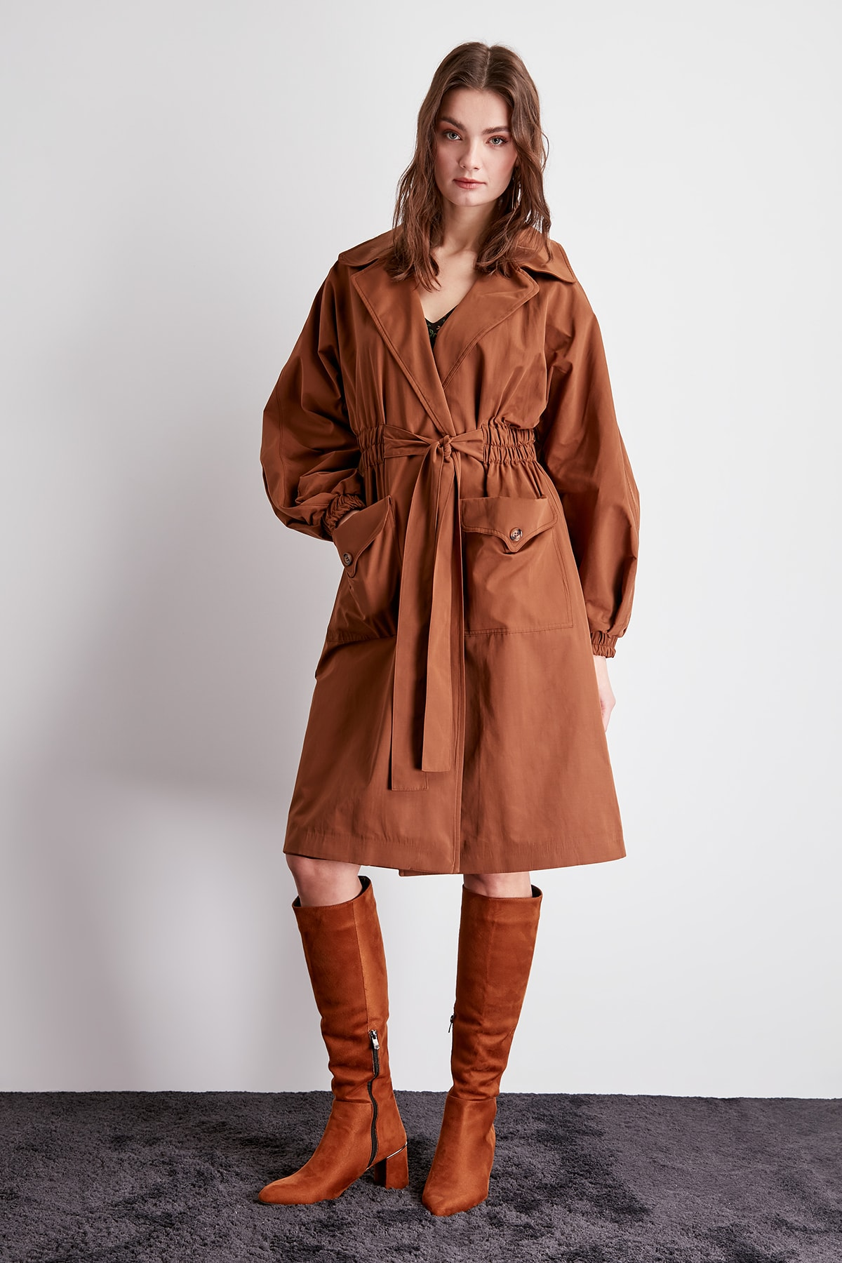 Trendyol Smocking At Waist And Belt Detail Long Trench Coat TWOSS20TR0010