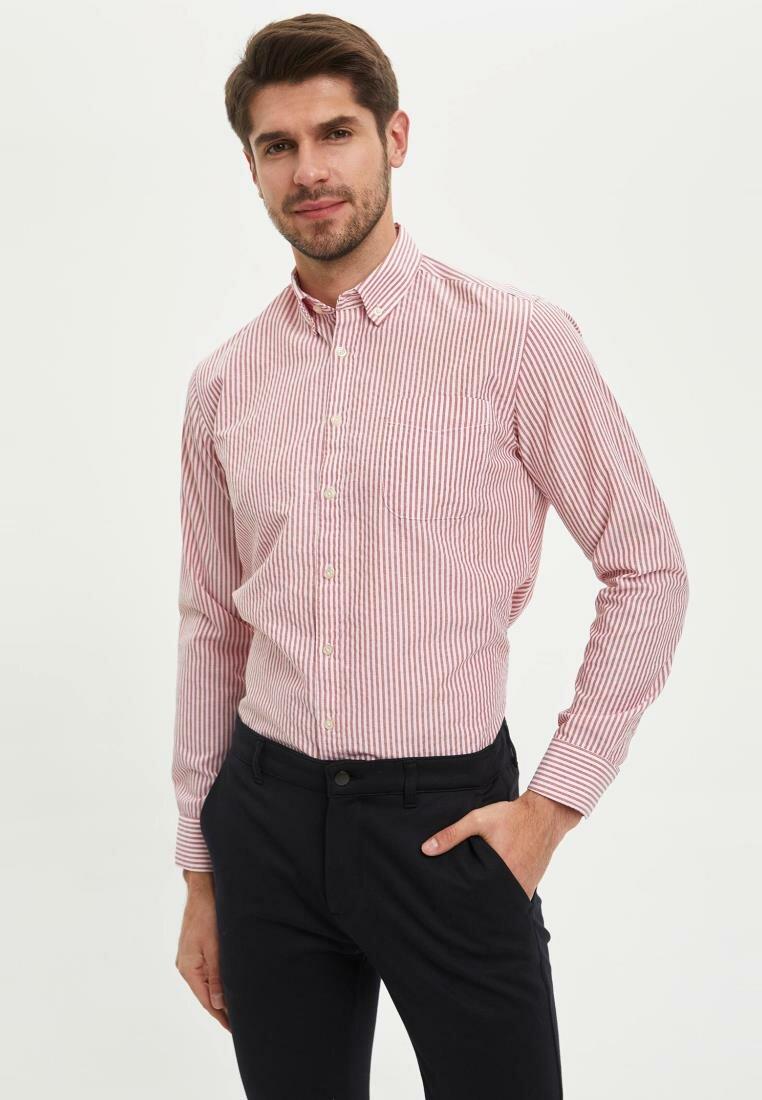 DeFacto Man Long Sleeve Shirt Men's Casual Solid Color Shirts Men's White Pink Shirts Men's Smart Casual Top Shirts-M7511AZ20SP