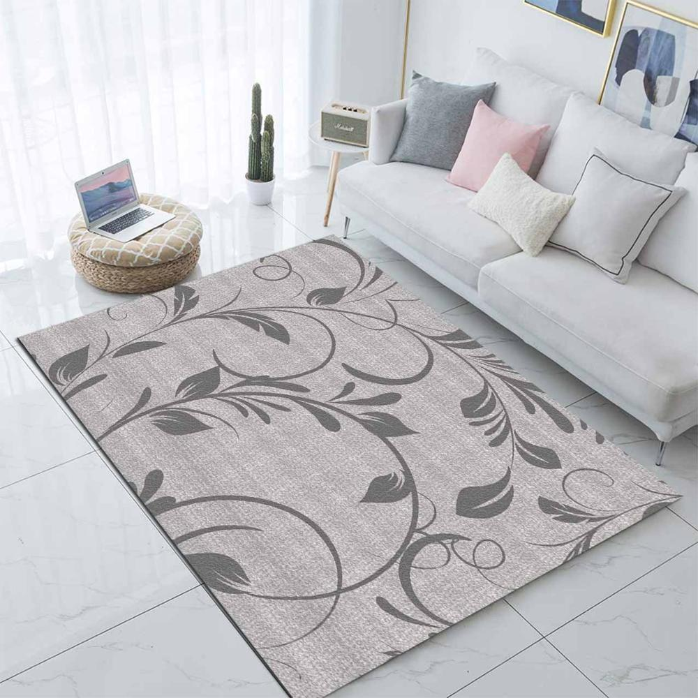 Else Gray Floral Leaves Nordec Scandinavian 3d Print Non Slip Microfiber Living Room Decorative Modern Washable Area Rug Mat