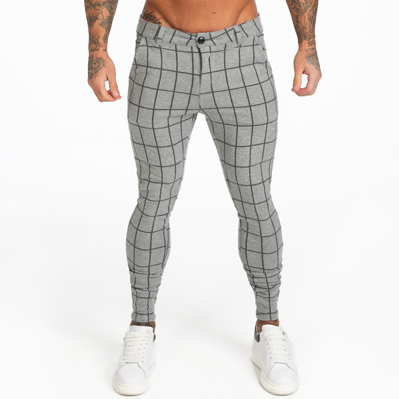GINGTTO Mens Chinos Pants Grey Plaid 2019 AW Skinny Fit High Waist Skinny Pants Elastic Waist  Stretchy Chinos Trousers Zm369