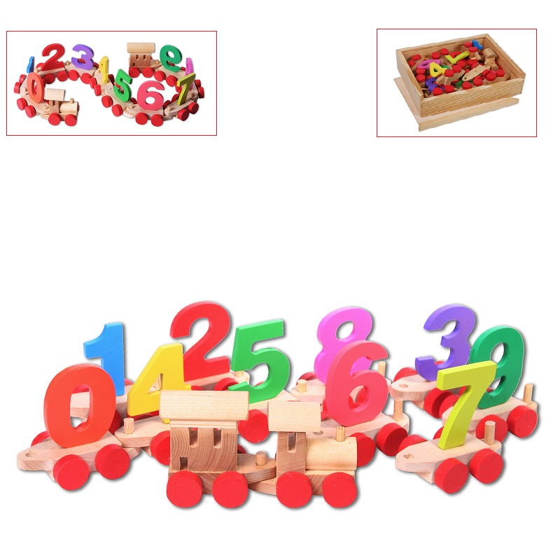 Wooden train with numbers in a wooden box christ in a choppie box