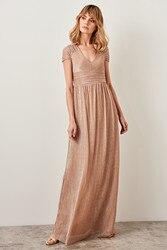 Trendyol воротник детальное светящееся вечернее платье TPRSS19FZ0259
