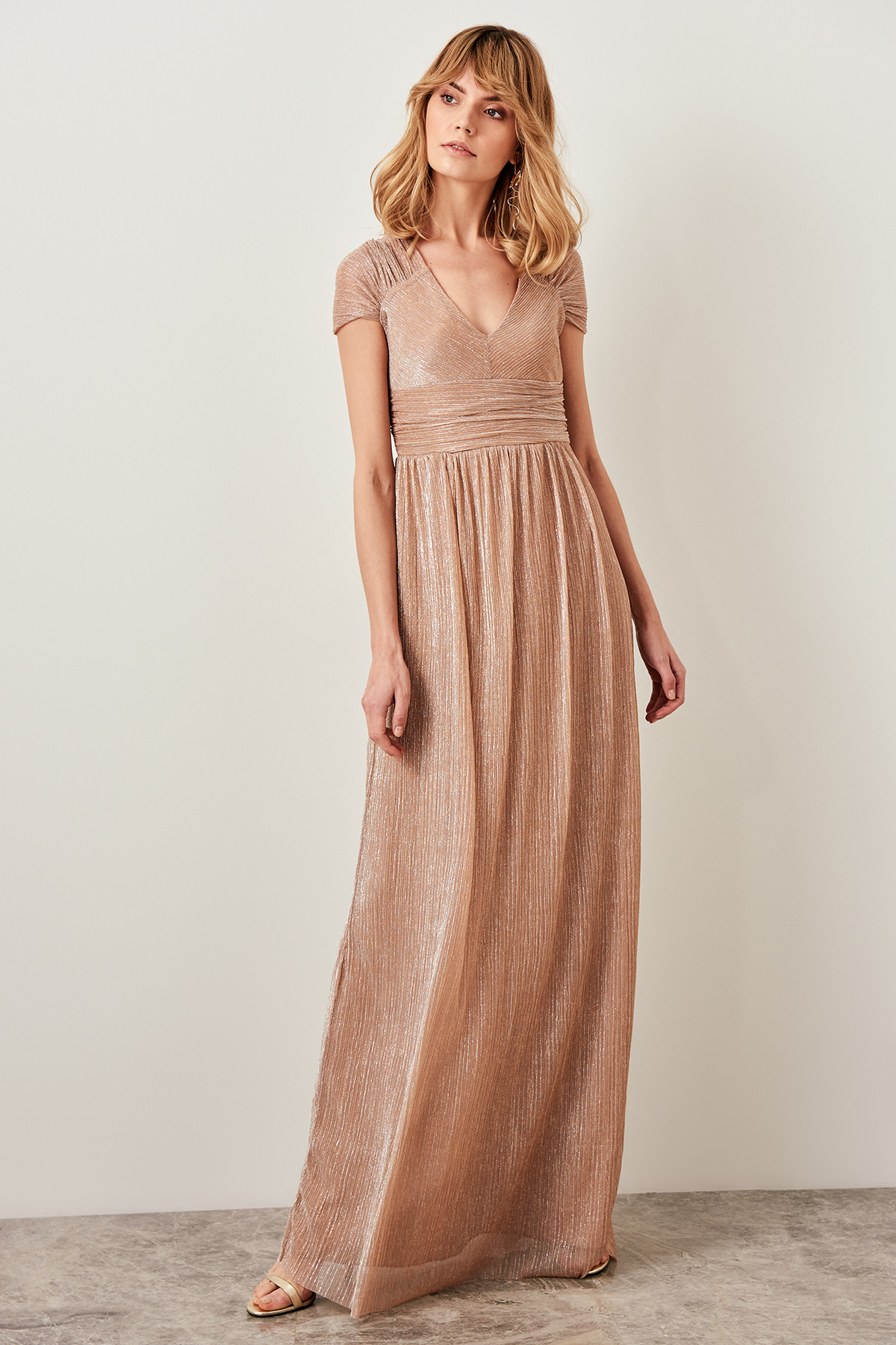 Trendyol Collar Detailed Luminous Evening Dress TPRSS19FZ0259