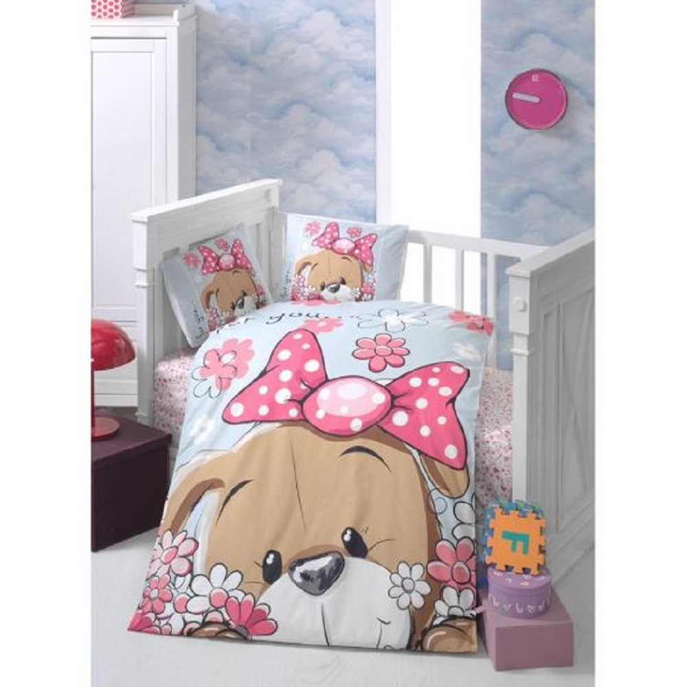 Made In Turkey PRETTY Baby Bedding Duvet Cover Set Crib For Boy Girl Nursery Cartoon Animal Baby Cot Cotton Soft Antiallergic