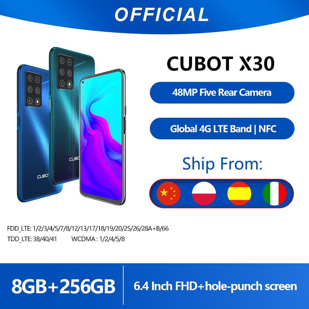 "Cubot X30 Smartphone 48MP Five Camera 32MP Selfie 8GB+256GB NFC 6.4"" FHD+ Fullview Display Android 10 Global Version Helio P60