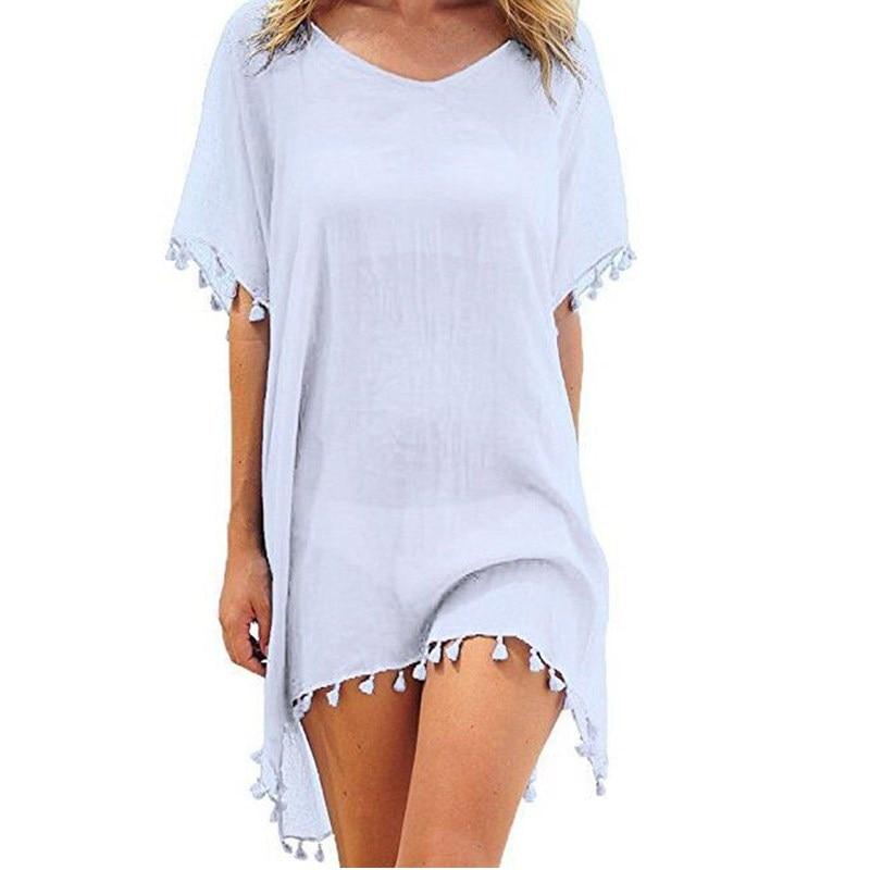 U6cd3bd3debce42bb87ed92209d73f370t Hirigin 2019 New Tassels Chiffon Beach Wear Swimsuit Cover Up Pareo Cap Swimwear Swimsuits Summer Mini Dress Loose Solid Ups