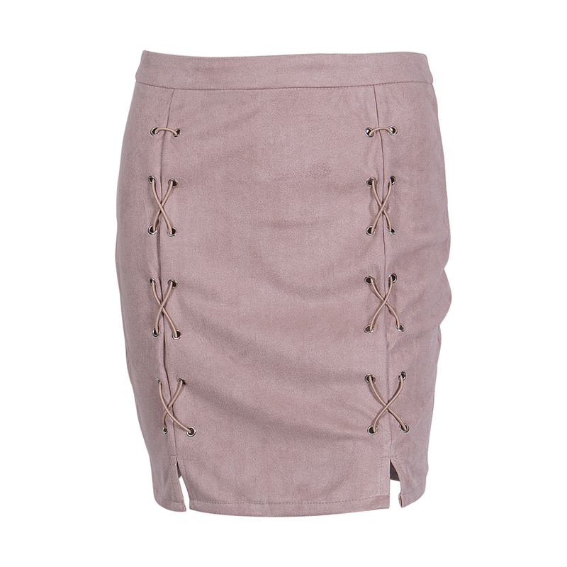 New fashion Women Ladies High Waist Pencil Skirts button lace patchwork sexy Bodycon Suede Leather split party casual Mini Skirt 61