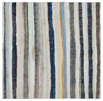 Handmade Multicolor Vintage English Striped dywan dywan do składania 178x177 Cm-5 '10''x5'10''