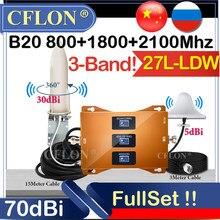 Novo!! celular celular amplificador 4g b20 800 1800 2100mhz lte dcs umts tri-band gsm repetidor 2g3g4g repetidor de sinal de dados