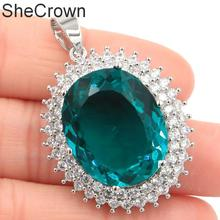 Hot Sell Big Gem 22x18mm Green Tsavorite Garnet, CZ Woman's Party 925 Silver Pendant 25x20mm