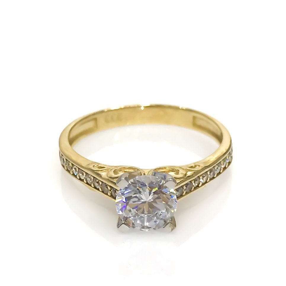 Diamond Model Cubic Zirconia Solitaire 8 Carat Gold Ring