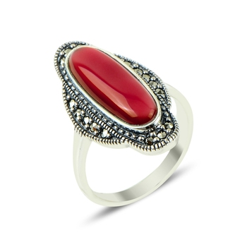 Silver 925 Sterling Marcasite & Agate Stone Ring